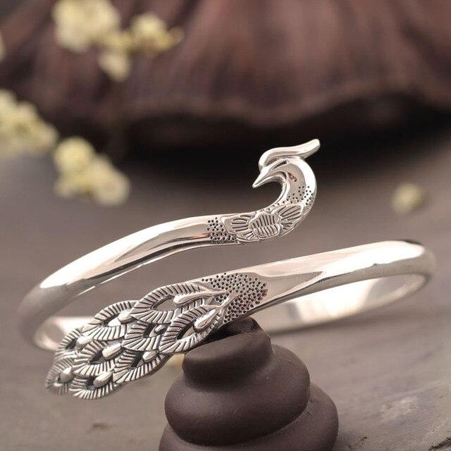 Designer fine traditional 990 sterling silver women adorn article peacock bracelet quality goods wholesale silver bangle
