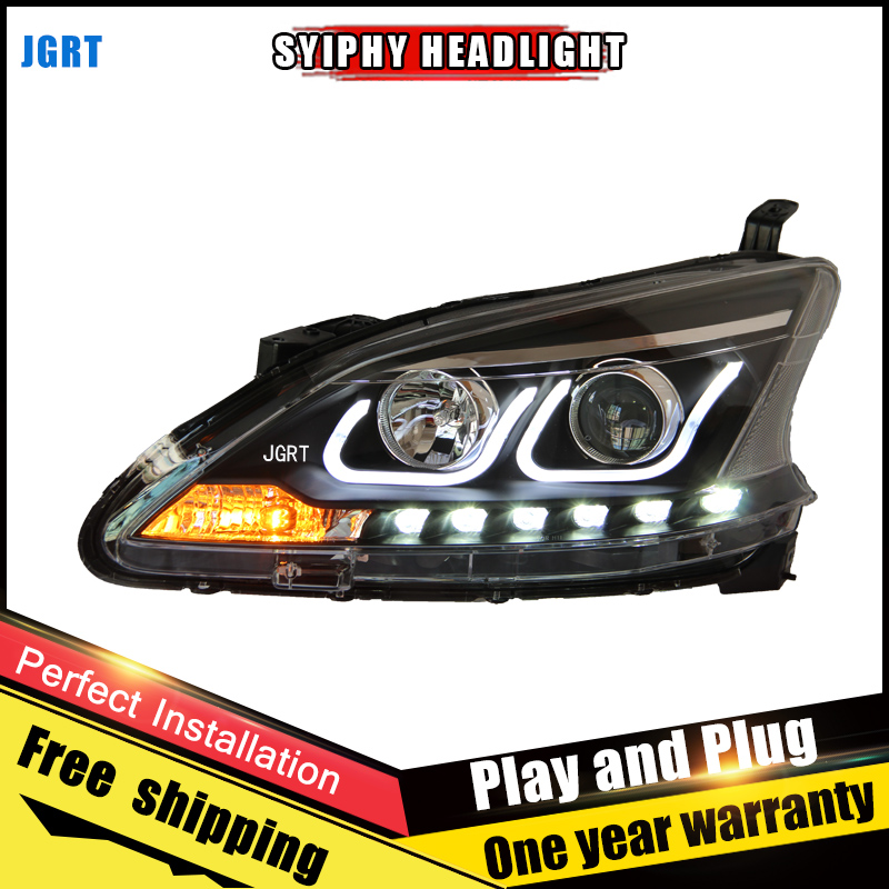 Car Style LED headlights for Nissan Sentra 2012-2014 for Sentra head lamp LED DRL Lens Double Beam H7 HID Xenon bi xenon lens for volkswagen polo mk5 vento cross polo led head lamp headlights 2010 2014 year r8 style sn