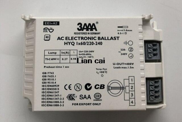 3AAAเริ่มต้นทันทีAC T5บัลลาสต์อิเล็กทรอนิกส์HYQ 1X60วัตต์/220-240สำหรับT5 60วัตต์คล้องหลอดไฟนีออน