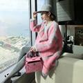Nueva visón puro suéter de cachemira de las mujeres 100% de visón cachemira cardigans suéter grueso suéter de invierno tamaño grande Envío gratis S261