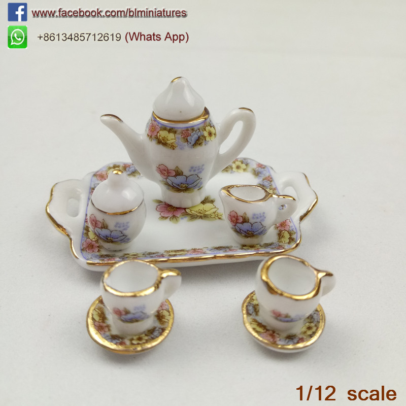 Dolls House Toy Kitchen Miniature Floral 8 Pieces Ceramic