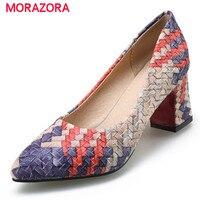 Morazora 2018 tamaño grande 33-43 altos talones 7 cm puntiaguda toe moda Zapatos partido mujeres bombas cuatro Estaciones