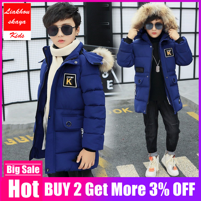 Kids Jacket Overcoat Hooded Teenage-Fur Russia Boys Winter Children Outerwear New Cotton