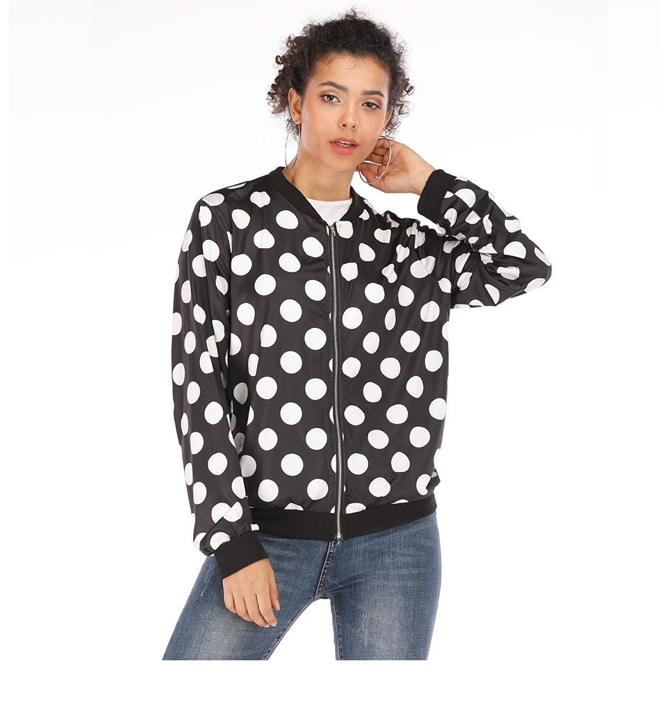 Rose Leopard Spring Women's Jackets Plus Size Short Female Coat Zipper Chaqueta Long Sleeve Polka Dot Women Bomber Jacket 11