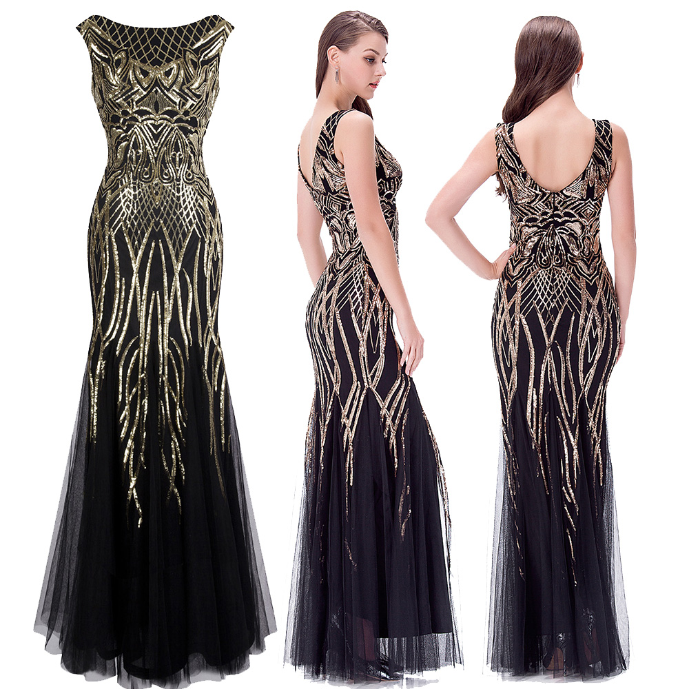 Angel-fashions Women's V Neck Evening Dresses Golden Vintage Sequin Mermaid Ballkleid Party Gown 377 model