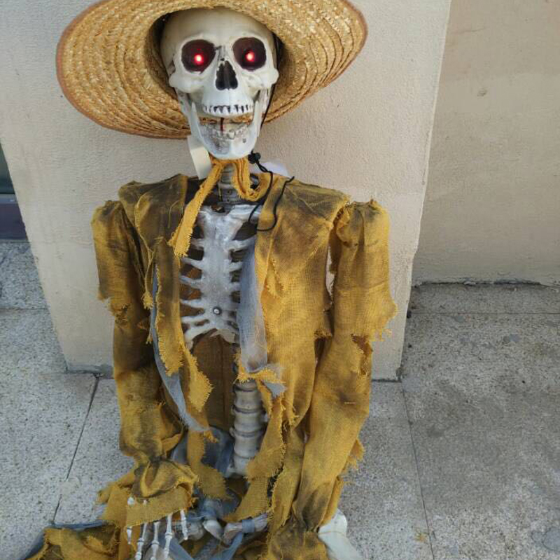 Plastic Standing Human Skeleton Life Size for Horror Hunted House Halloween Decoration halloween decor fake human bones lifelike plastic skeleton haunted house decorations props loose bones 28 pieces