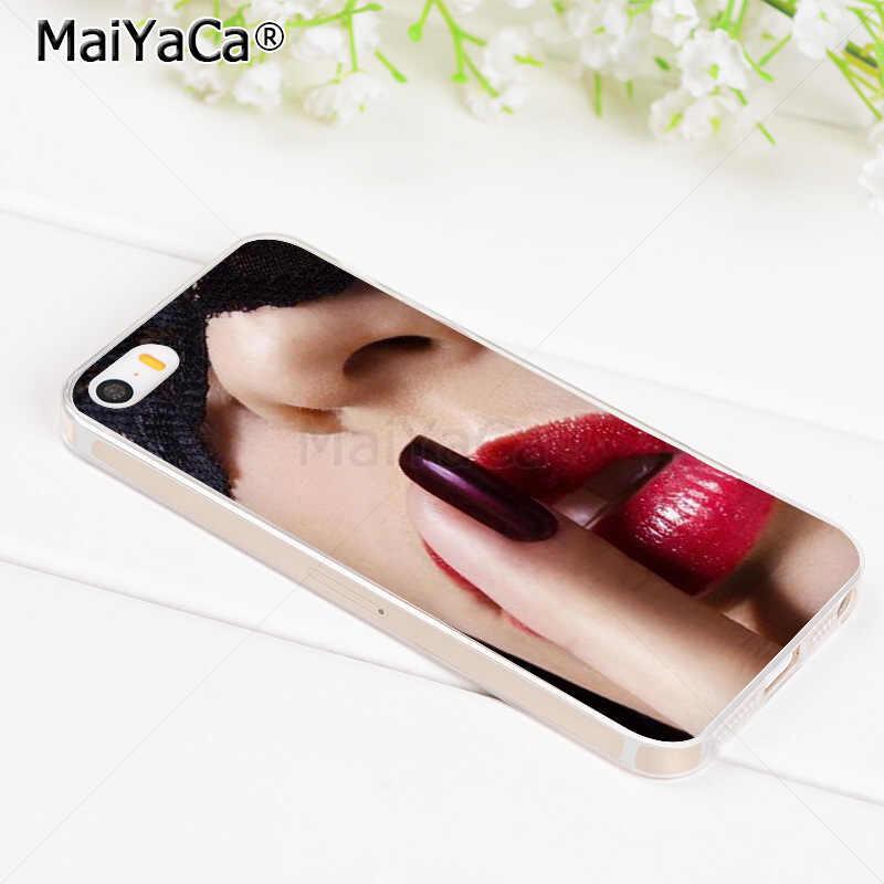 Maiyaca Gợi Cảm Cho Các Bạn Gái Xăm Môi Mềm Trong Suốt TPU Ốp Lưng Điện Thoại Cho iPhone 8 7 6 6S 6S Plus X 5 5S SE 5C 4 S