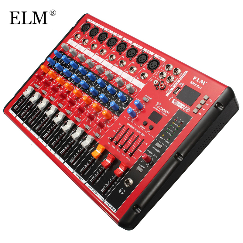 ELM profesional Bluetooth DJ Audio Sound Mixing Console 8 canales Digital Sound Mixer para DJ Concert Audio Post-Processing