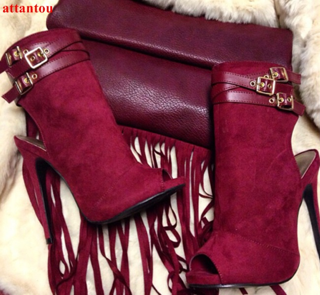 Hot selling wine red suede leather peep toe women sandal bootis triple strappy short boots buckle embellished high heels цена