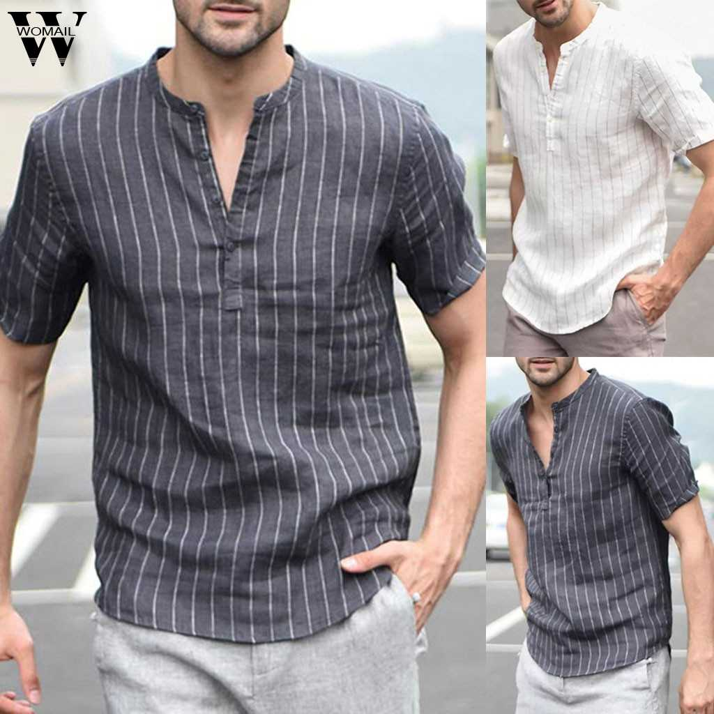 Womail Polo Shirt Men NEW Summer Baggy Cotton Linen Stripe Short Sleeve Button Slim Gift High Quantity polo men 2019 A17