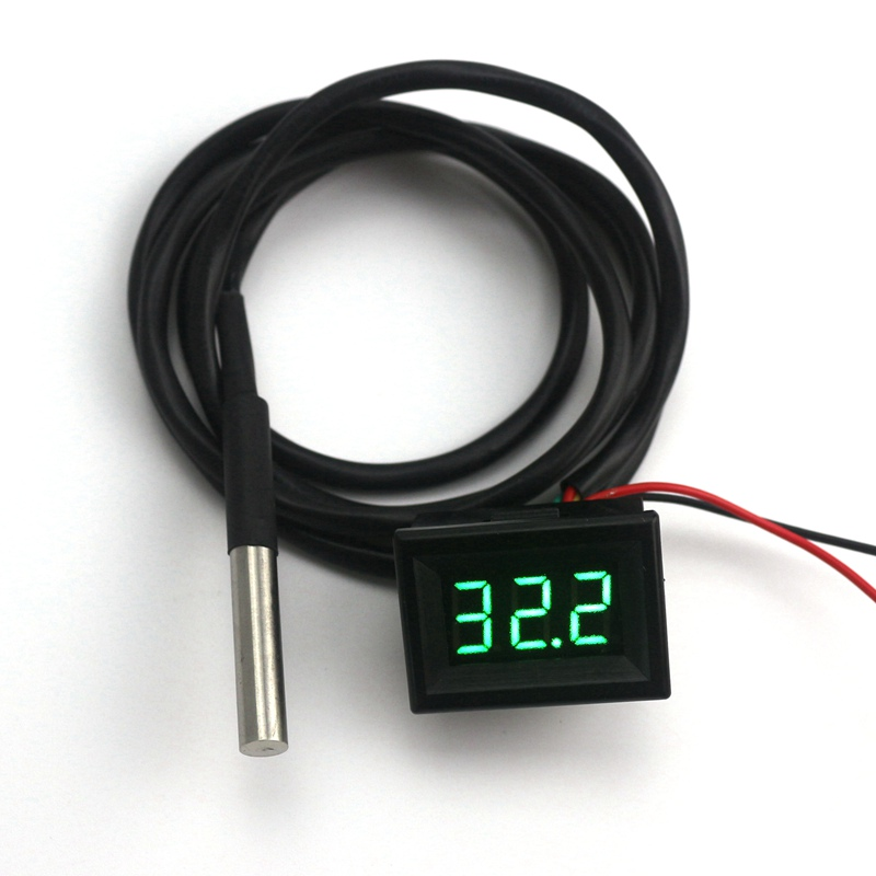 -55 To 125 Celsius Green LED Waterproof Thermometer Digital Temperature Meter with DS18B20 Sensor 1m high precision 0 56 red blue dual display digital led thermometer temperature meter waterproof metal probe sensor module 20 100 celsius