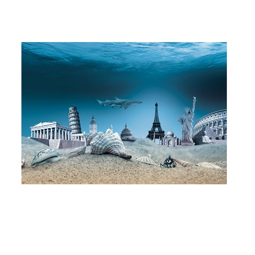 122cm Length Fish Aquatic Pet Decorations Ornaments Durable Background Aquarium Ocean Landscape Poster Fish Tank Background MA15