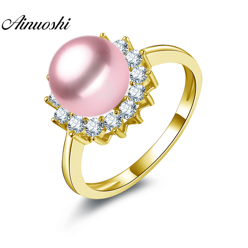 AINUOSHI 10K Solid Yellow Gold Pearl Ring 8mm White Pink Purple Freshwater Pearl Ring Women Wedding Engagement Ring Jewelry Gift white pink purple black pearl jewelry set aa 7 8mm 100