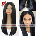 Fast Shipping High Quality Yaki Straight Synthetic Wigs Heat Resistant Natural Black Yaki Glueless Synthetic Lace Front Wig