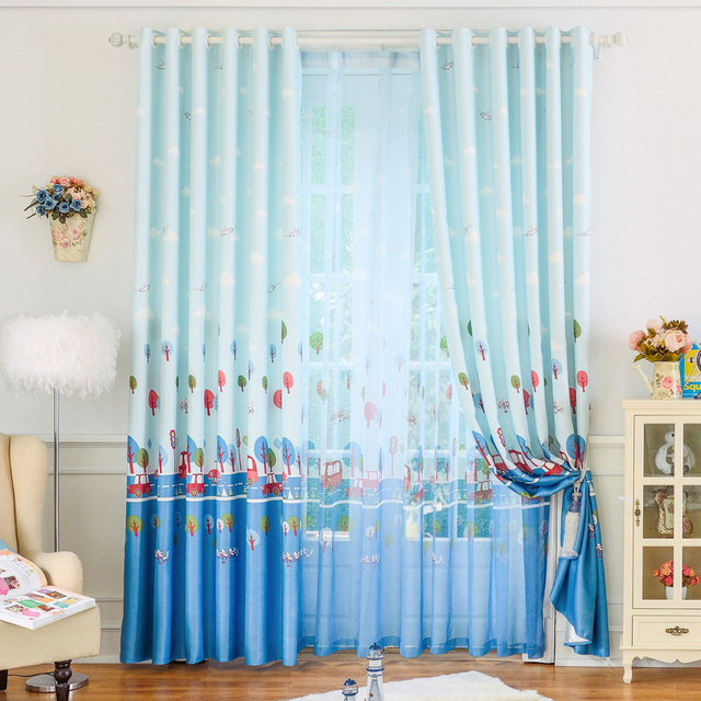 Buy cartoon car printed window curtains for Childrens bedroom curtain fabric