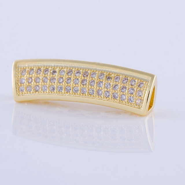 triangle shape long curved tubes beads for jewelry making Micro Pave