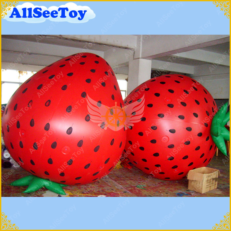 2.8 Meters Height Inflatable Helium Balloon Giant Strawberry Shape for your Promotion, Inflatable Strawberry for Advertising