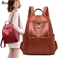 A4 large bagpack women's genuine leather backpack schoolbag brown black red female backpacks bag for women back pack sac a dos