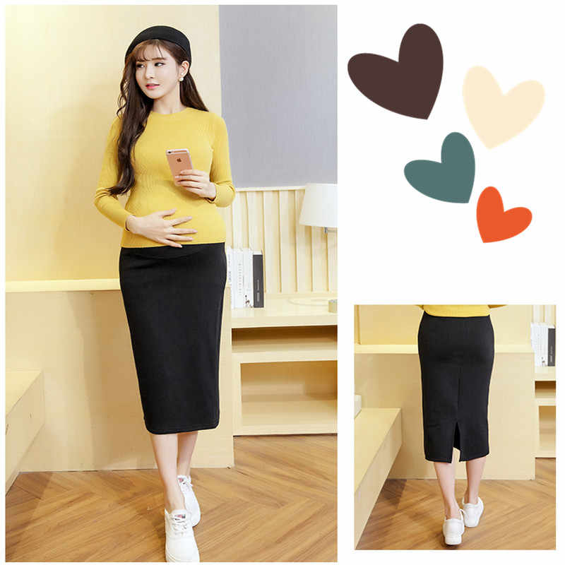 a62bbc1862746 ... Korean Fashion Belly Pencil Maternity Skirts Sexy Soild Dress With  Velvet&Thickening for Pregnant Women Pregnancy Clothing ...