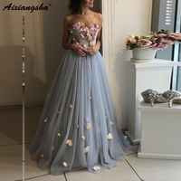 Gray Flower Long Evening Dresses 2019 Elegant Light Dusty Blue Floral Evening Gowns Plus Size Lace Up Tulle robe de soiree