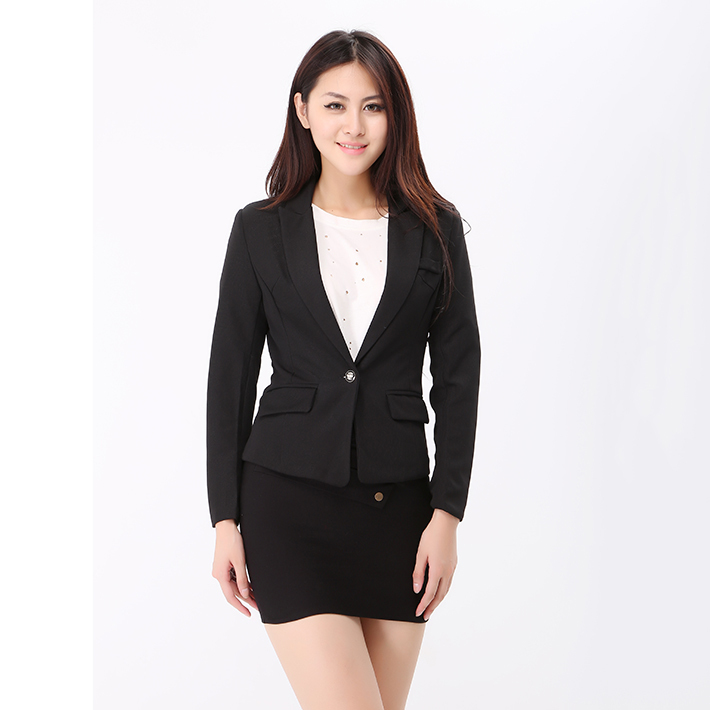 c30b7e0ed2de3 3XL 2015 Women Slim Black Office Suit Jacket Ladies One Button Formal  Business Blazer Spring Autumn Casual Coat Basic Jackets-in Blazers from  Women s ...