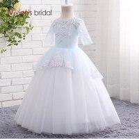 Long Sleeve Flower Girl Dresses For Weddings Lace First Communion Dresses For Girls Pageant Dresses White