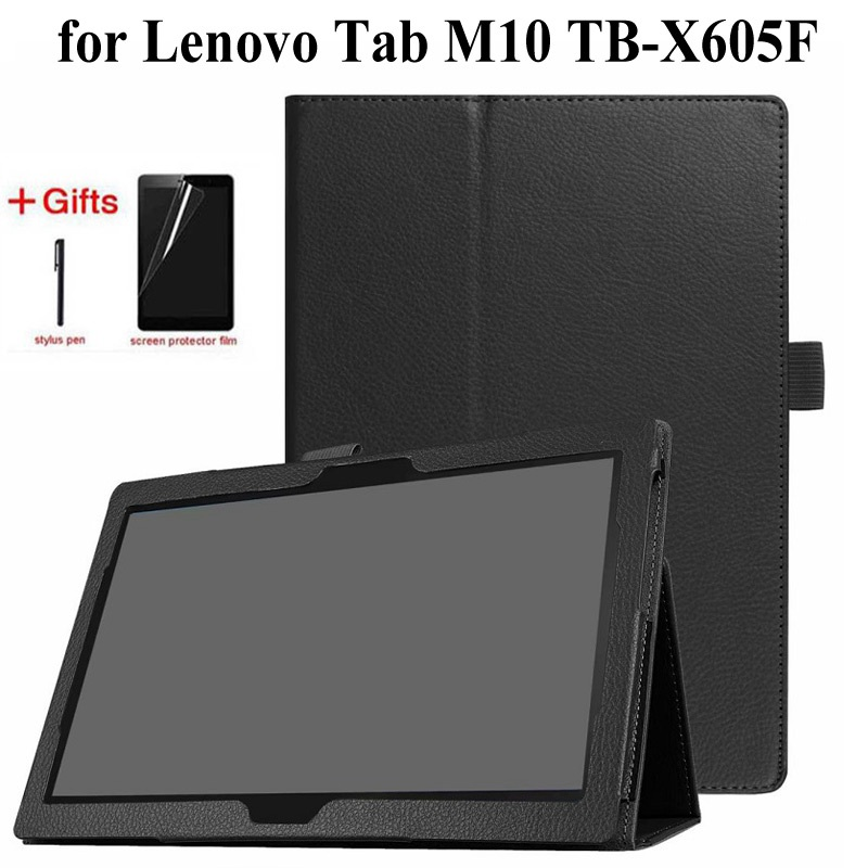 Folding Folio PU Leather Case For Lenovo Tab M10 TB-X605F 2018 Release Tablet Stand Cover For M10 X605 10.1 Inch Case+film+pen