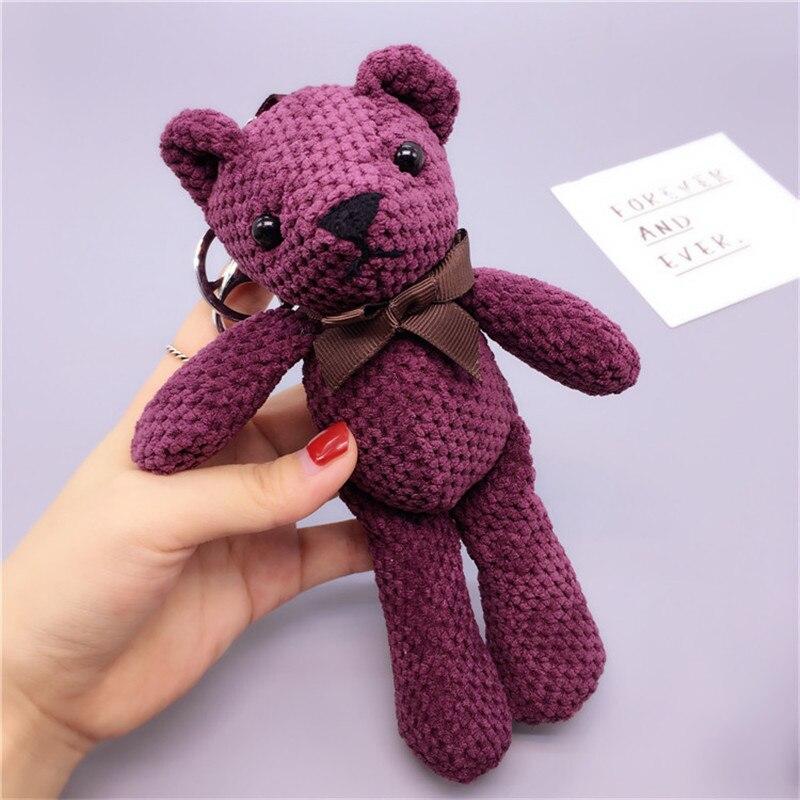 Fancy&Fantasy Cute Fluffy Car Pendant Keychain Pom Pom Cute bear Key Chain Rings For Women Bag Accessories Car Keyring ...
