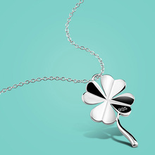 Simple 925 Sterling Silver Necklace Women's Cute Clover Pendant Solid Silver clavicle Chain Charm Jewelery Valentine's Day gift
