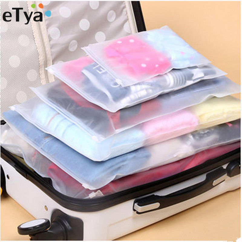 eTya 5PCS/Set Women Men Travel  Luggage Packing Cube Organizer Bags PVC Waterproof Cosmetic Bag