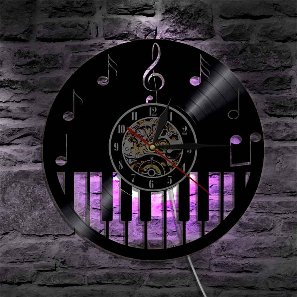 1Piece Piano Musical Instrument Vinyl Record Wall Clock With LED Backlight Music Notes Sheet Music Color Change Modern Light musical instruments automatic music score book page flipping machine music sheet auto page turning tools