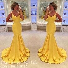 Gelbe Farbe Lange Abendkleider 2017 Vestido de Festa Mode Spaghetti-trägern Bodenlangen Mermaid Abendkleid Kleider