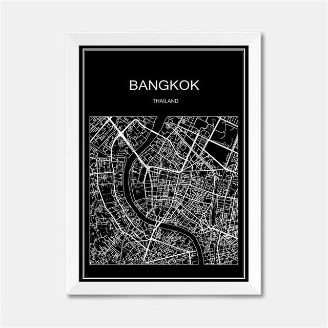 Bangkok thailand city world map poster abstract vintage paper print picture bar cafe pub living room