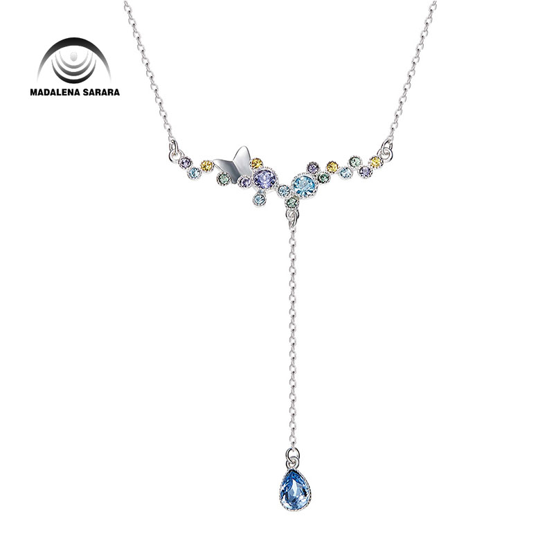 MADALENA SARARA AAA Synthetic Quartz Stone Fashion Romantic Wings Style Pendant Necklace S925 Chain Necklace
