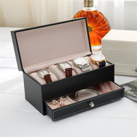 4 Grids Leather Watch Display Box Bistratal PU Jewel Case Luxury Watch Storage Box Birthday Gift 1 Piece Free Shipping
