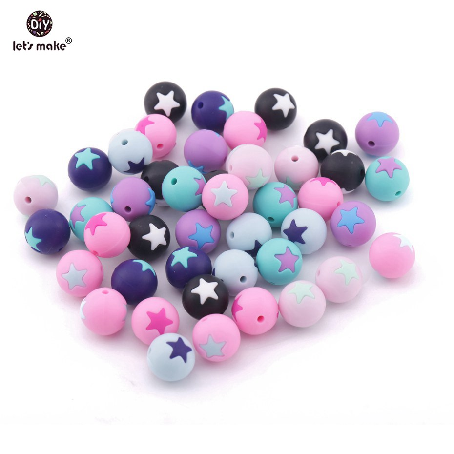 Lets Make 5pc Silicone Star Beads BPA Free Baby Shower Toys Montessori Toy Food Grade Silicone Teething Toys Chew Beads