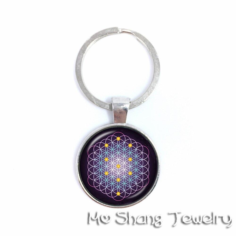 Mandala Glass Jewels Key Chain Trendy Chakra Mandala Glass Jewels Geometric Flower Gift For Family dkyil-vkhor OM