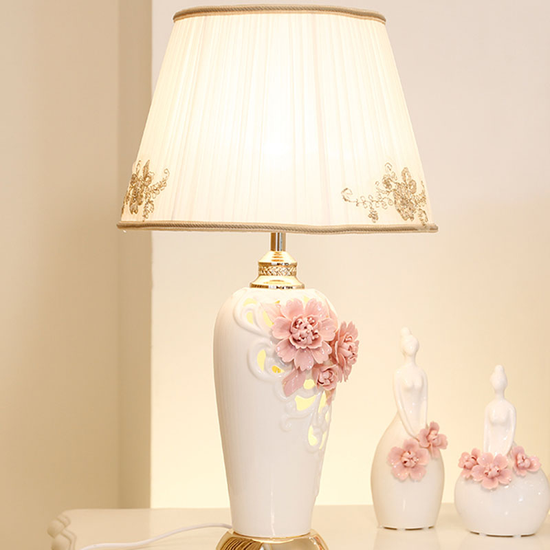 Led Lamps Lights & Lighting Nordic Led Table Lamps Bedroom Bedside Flower Ceramic Simple Home Lighting Fixture Novelty Wedding Room Dimmable Table Lights