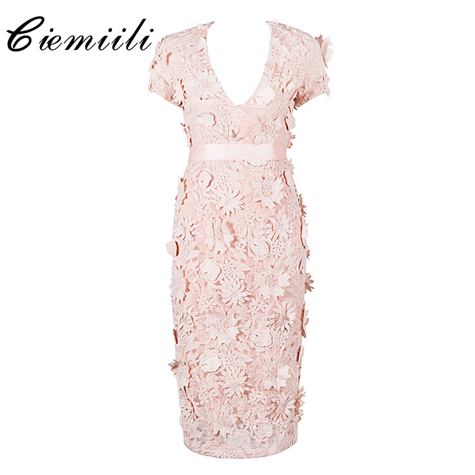 CIEMIILI 2017 Embroidery Knee-Length Women Dress Bodycon Solid White Pink V-Neck New Style Summer Sexy Club Young Ladies Dresses цена