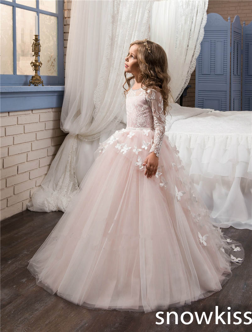 2019 blush pink flower girl dress for wedding long sleeve with lace appliques tulle sheer back toddler pageant prom dresses2019 blush pink flower girl dress for wedding long sleeve with lace appliques tulle sheer back toddler pageant prom dresses