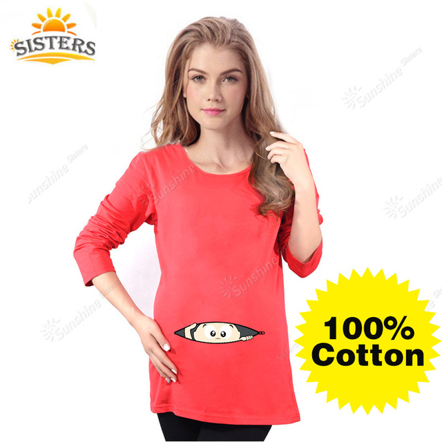 Long Sleeve Maternity Funny Baby Peeking Out T Shirts Black Red Pregnant Women Tops Tees 100% Cotton Clothes Pregnancy Clothing