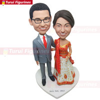 Custom Indian Bride Personalized Wedding Cake Topper Indian Bobble Head Clay Figurine Traditional Indian Bride Indian Wedding