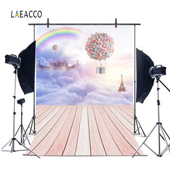 Laeacco Fairytale Clouds Castle Balloons Wooden Floor Children Photography Backdrops Photographic Backgrounds For Photo Studio