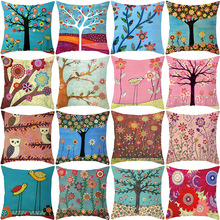 Modern Creative childrens Cartoon cushion cover for sofa Painting tree bird Suede Fabric decorative pillows Printed pillow case
