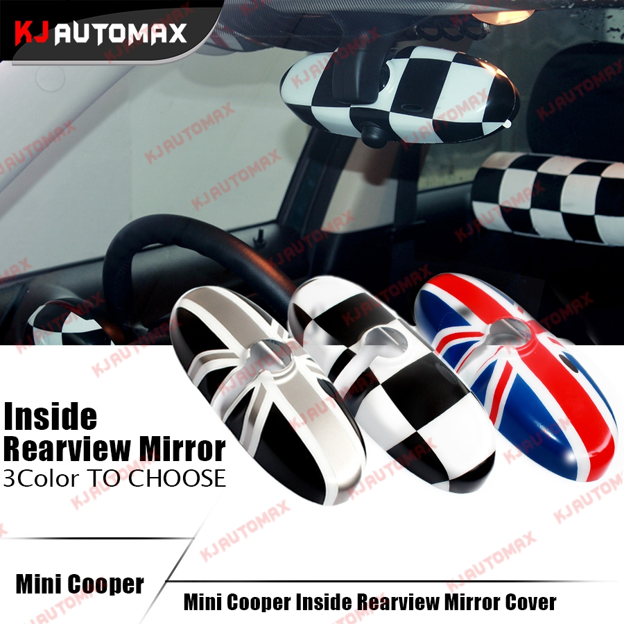 Interior Rearview <font><b>Mirror</b></font> Cover Cap Shell For Mini Cooper One S Countryman R55 R56 R57 R60 R61 Union Jack accessories sticker