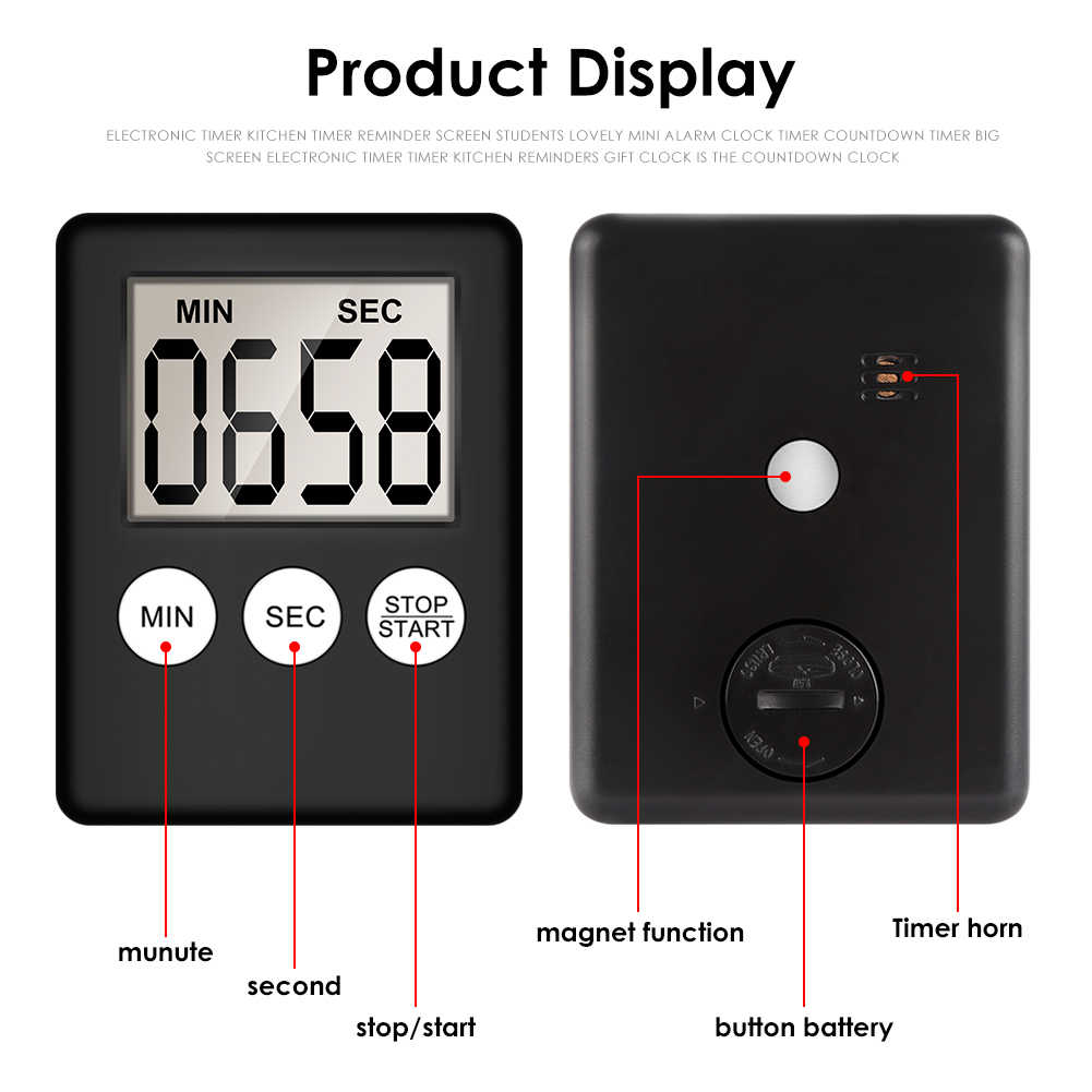 Super mince LCD numérique écran cuisine minuterie carré cuisson compte à rebours alarme sommeil chronomètre minuteur horloge livraison directe
