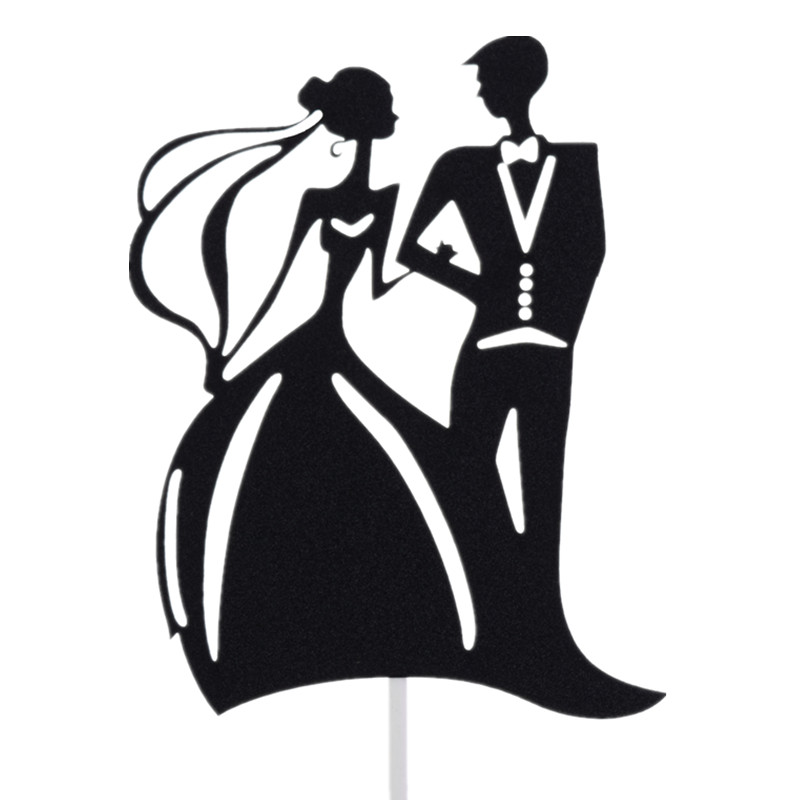 Romantic Wedding Cake Flags Mr Mrs Cake Topper Black Color Bride Groom Wedding Party Cake Baking Decor Engagement Cake Flags in Cake Decorating Supplies from Home Garden