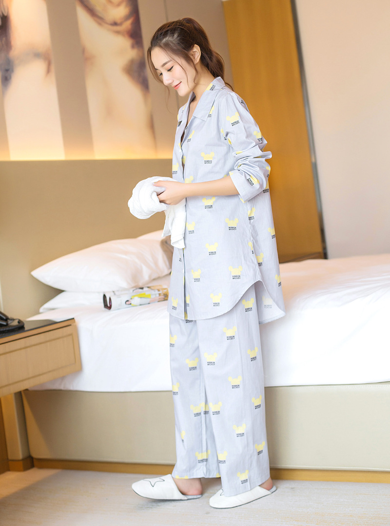 yomrzl A549 new arrival spring and autumn womens pajama set cotton daily sleep set cartoon long sleeve sleepwear indoor clothes