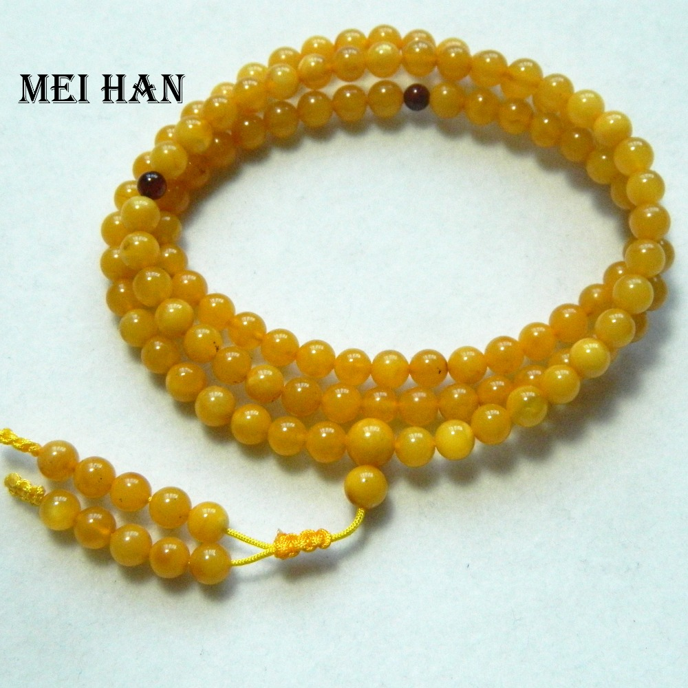 Meihan Free Shipping 5.5mm Natural The Baltic Sea Amber Budda Round Loose Beads For Jewelry Making Activating Blood Circulation And Strengthening Sinews And Bones 108 Beads/set/11g