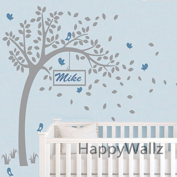 Baby Nursery Tree Wall Sticker Diy Custom Name Decal Kids Room Children